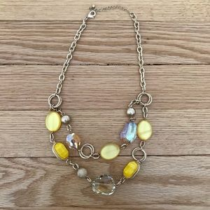 Jewelry - Yellow and gold chunky fashion statement necklace